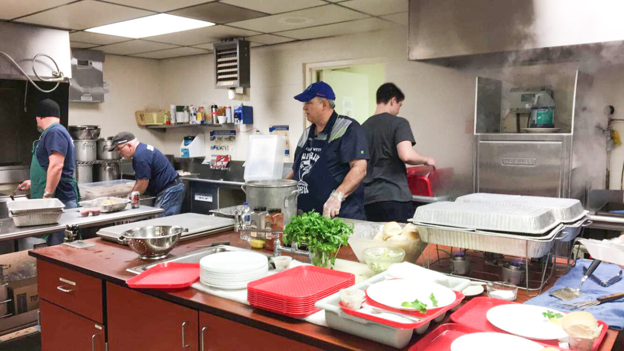 Busy Fish Fry Kitchen